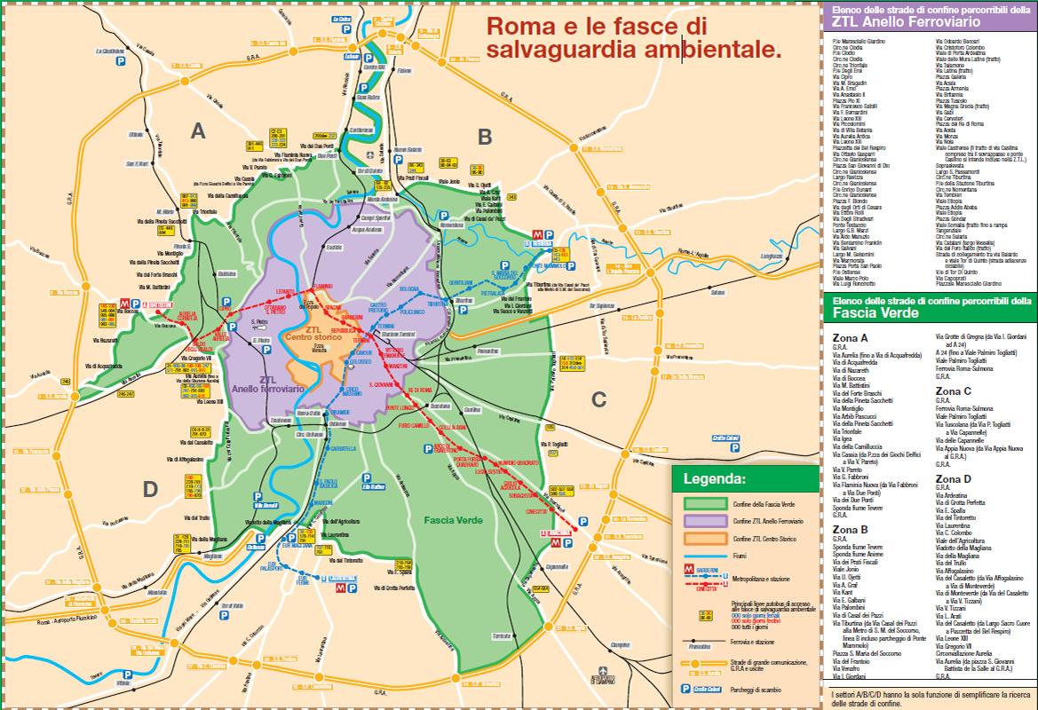 Cartina Dettagliata Fascia Verde Roma.La Mappa Della Fascia Verde A Roma Polizia Roma Capitale